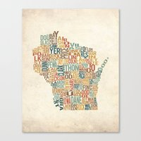 Wisconsin by County Canvas Print