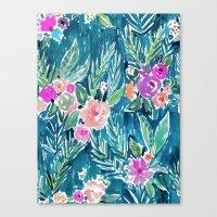 PARADISE FLORAL - NAVY Canvas Print
