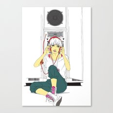 stereo-girl Canvas Print