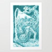 Creatures Under Lamppost Art Print