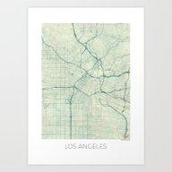 Los Angeles Map Blue Vin… Art Print
