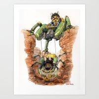 The Deep Dig Excavator Art Print