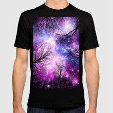 Black Trees Purple Fuchsia Blue Space Mens Fitted Tee Black SMALL