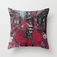 Bunnies of Valentine Day Town.  Throw Pillow