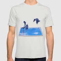 Leaping Dolphins Mens Fitted Tee Silver SMALL