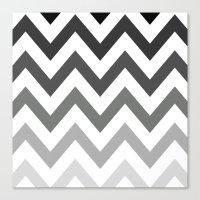 BLACK/GRAY OMBRÉ CHEVRO… Canvas Print