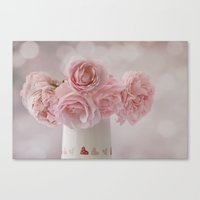 Canvas Print featuring Love Hearts and Roses by Fran Walding