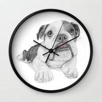 A Bulldog Puppy Wall Clock