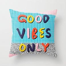 Check it - good vibes happy smiles fun modern memphis throwback art 1980's 80's 80s 1980s 1980 neon  Throw Pillow