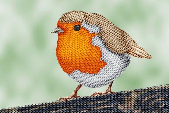 Knitted Robin Art Print