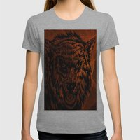 angry wolf fire Womens Fitted Tee Athletic Grey SMALL