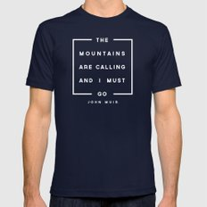 The Mountains are Calling Mens Fitted Tee Navy SMALL