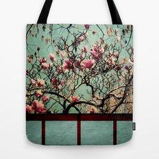 Pink Japanese Magnolia Tree in Flower Tote Bag