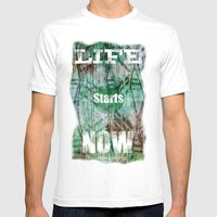 Life Starts Now Mens Fitted Tee White SMALL