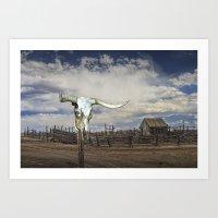 Steer Skull and Western Fenced Corral Art Print