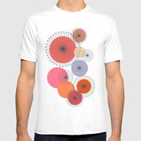 Spiral Flowers Mens Fitted Tee White SMALL