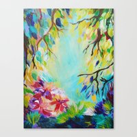 BLISS - Stunning Bold Colorful Idyllic Dream Floral Nature Landscape Secret Garden Acrylic Painting Canvas Print