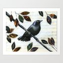 Raven Melody ... Collage Bird Art Art Print