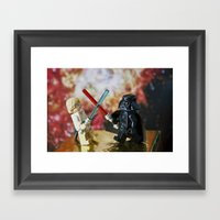 Darth Vader and Luke Skywalker lego characters fighting with their lightsabers Framed Art Print