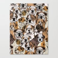 Social English Bulldog Canvas Print