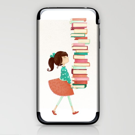 Library Girl iPhone & iPod Skin