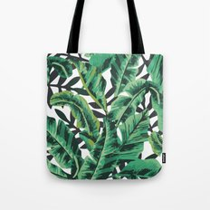 Tropical Glam Banana Leaf Print Tote Bag