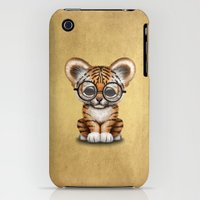 iPhone Cases featuring Cute Baby Tiger Cub Wearing Eye Glasses on Yellow by Jeff Bartels