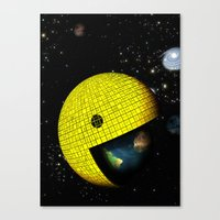 Pacman Eating the World Canvas Print