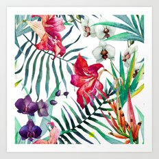 Tropical Watercolor Floral Art Print