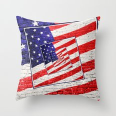 Patriotic American Flag Abstract Throw Pillow