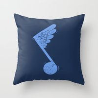 Flying Note Throw Pillow