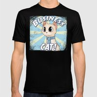 Business Cat! Mens Fitted Tee Black SMALL