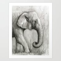 Elephant Watercolor Black and White Animal Painting Art Print