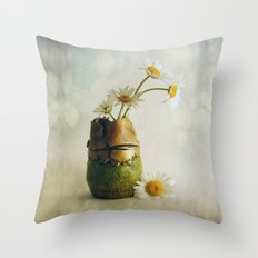 Daisies in a Handmade Vase Susan Weller Throw Pillow