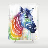 Zebra Rainbow Watercolor Shower Curtain