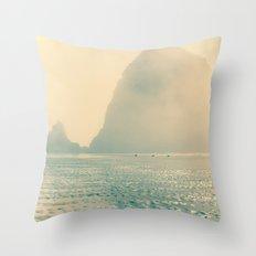 Haystack Rock in The Mist Throw Pillow