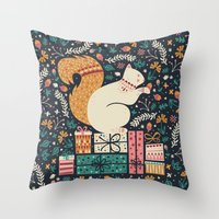 Merry Little Squirrel  Throw Pillow