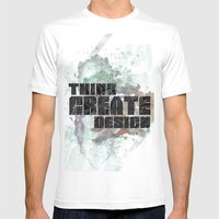 Think. Create. Design Mens Fitted Tee White SMALL