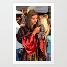 Renaissance Dressed Beauty and the Cute Little Beast Art Print