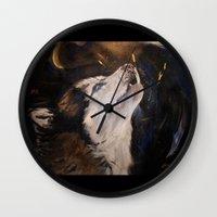 Howling Husky Wall Clock