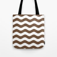 Wavy Stripes (Coffee/White) Tote Bag
