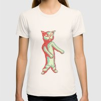 Zombie Cat Womens Fitted Tee Natural SMALL