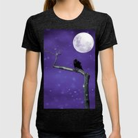 Moonlit Winter Sky Womens Fitted Tee Tri-Black SMALL