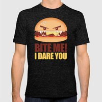 Bite Me! I Dare You Mens Fitted Tee Tri-Black SMALL
