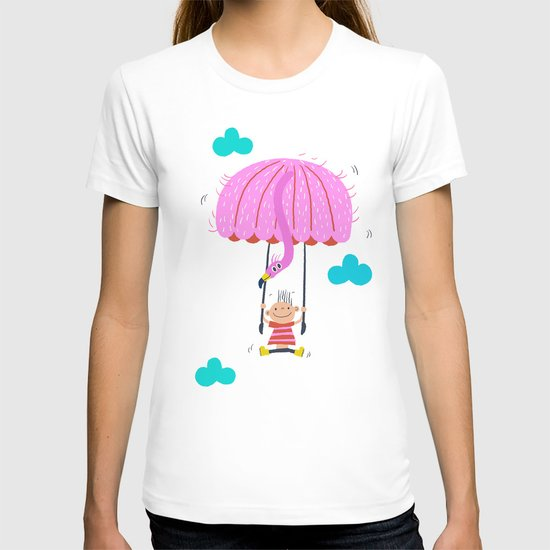 one of the many uses of a flamingo - parachute T-shirt