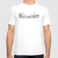 Paris Landmarks by the Downtown Doodler Mens Fitted Tee White SMALL