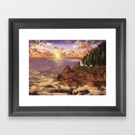 Lighthouse Landscape Sky Framed Art Print