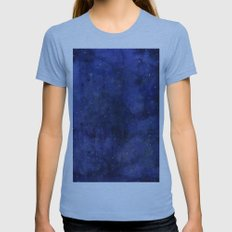 Galaxy Watercolor Texture Night Sky Stars Womens Fitted Tee Athletic Blue SMALL