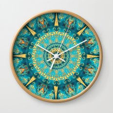 Caribbean Gold Mandala Wall Clock
