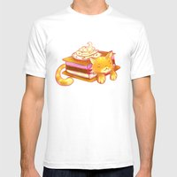 Ice Sandwich Cat Mens Fitted Tee White SMALL